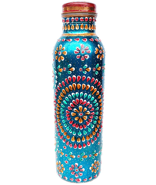Rastogi Handicrafts Copper Bottle Hand Painted